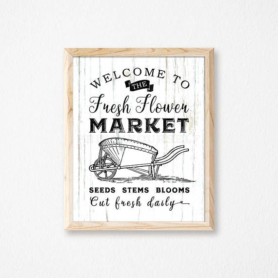 Flower Market Sign. Flower Market Print. Garden Sign. Garden