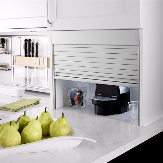 This Aluminum Roller Shutters - Milano Appliance Garage Kit will construct approximately 5 roller shutters and is made of aluminum. Available in brushed aluminum, matt aluminum, or stainless steel finishes, the kit includes a Tambour Door Slat, Top Valance, Handle Slat, Surface Mount Track Housing, Internal Guide Track, End Cap, Handle Cap, Corner Track, Guide Wheels, Screws, and Washer.