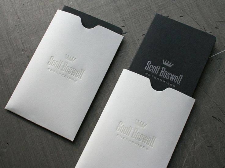 Business card with envelope embossed