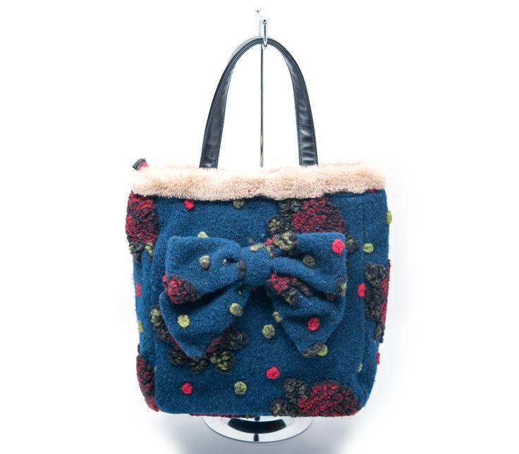 """Shopping Bag con fiocco in lana Collezione """"Le Chicche"""" Autunno/Inverno 2015"""