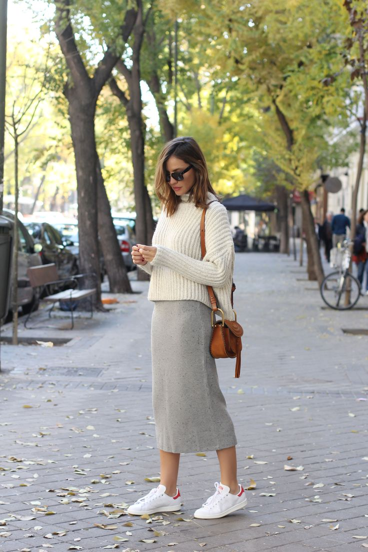 love the similar colors, and the midi skirt with sneaker combo