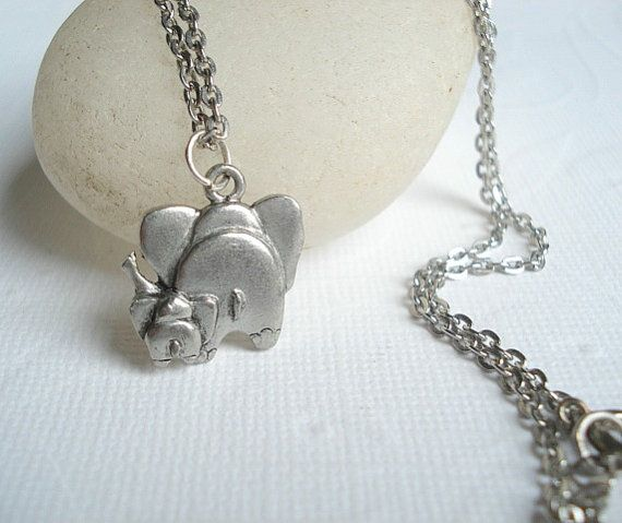 Elephant Necklace Friendship Necklace Silver Elephant Pendant Mother and Child Friend Jewelry An adorable necklace of an elephant and its child. I think this elephant is so charming for the elephant lover. A detailed silver metal elephant hangs on silver rhodium non tarnishing