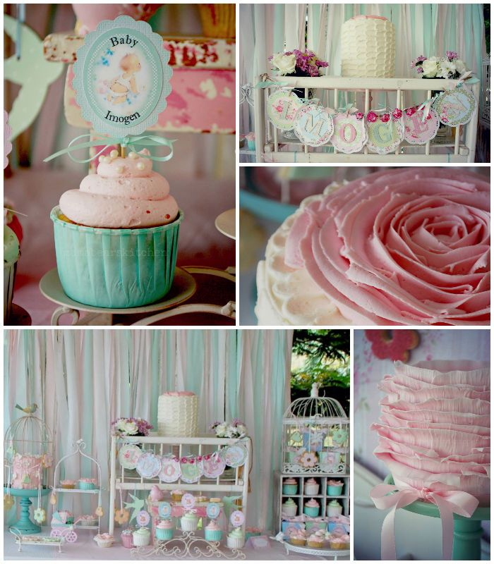 c43515a71 Shabby Chic Pink and Mint Baby Shower Full of Really Cute Ideas via Kara s  Party Ideas