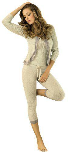 Adriana Arango 3 Piece Women's Pajama Set Fitted « Clothing Impulse - I'd prefer a prettier color, but I like the style.