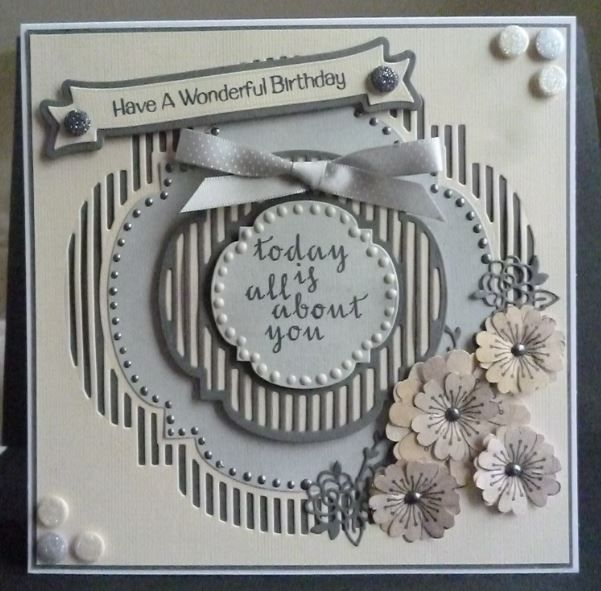 Card made using everything from Tonic accept for the sentiments and the flower stamps which are Dreamees Delights