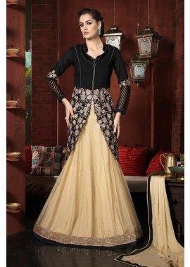 bhagalpuri noir costume Anarkali de soie, - 158,00 €, #Salwarkameez #Robepakistanaise #Robeindienne #Shopkund
