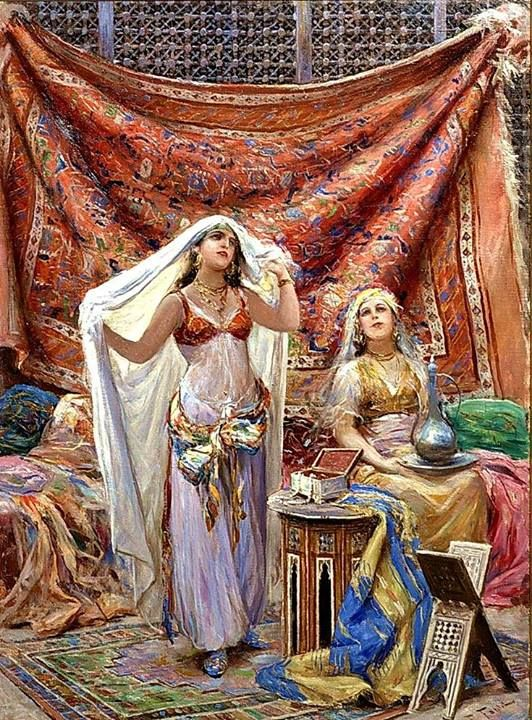 An Odalisque and her maid By Fabio Fabbi (Italian, 1861-1946) @@@@......http://www.pinterest.com/nikitaidou/art-orientalism/