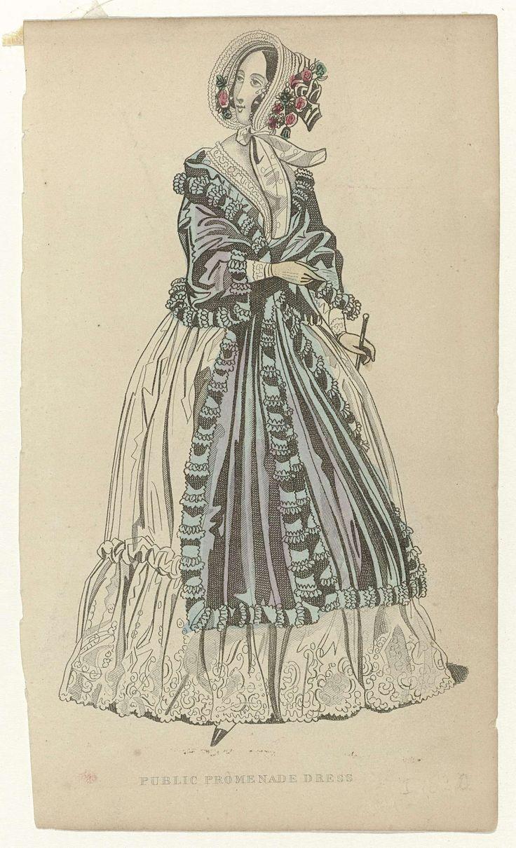 Anonymous | Public Promenade Dress, ca. 1835, Anonymous, c. 1835 | Vrouw in een wandeljapon, aan de onderkant versierd met gerimpelde strook stof met geschulpte zoom. Hieroverheen draagt zij een kleine schoudermantel. Op het hoofd een luifelhoed met striklinten en versierd met bloemen.