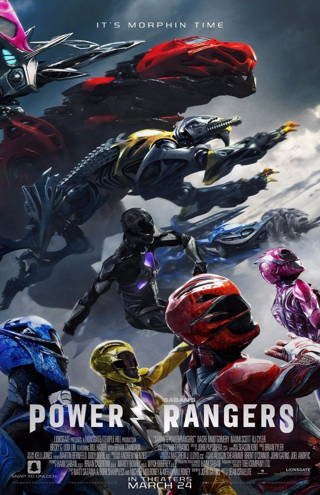 "Power Rangers 2017 Movie Poster Art Print 27x40"" 13x20"" 32x48"" Zords It's Morphin Time"