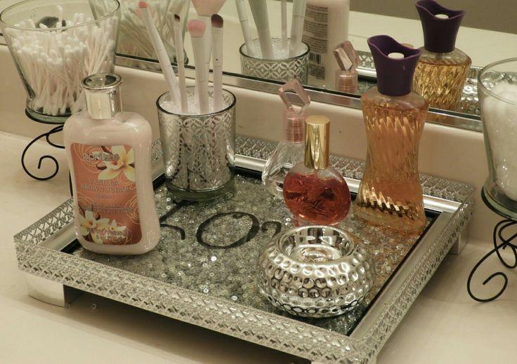 Diy vanity tray under 10 i used metal ribbon from hobby
