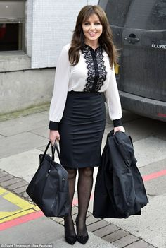 Black Pencil Skirt Black and White Blouse Sheer Black Pantyhose and Black High Heels