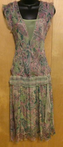 JONATHAN-MARTIN-SZ-16-DRESS-Silk-CHIFFON-Green-Pink-PAISLEY-Gatsby-20-039-s-DOWNTON
