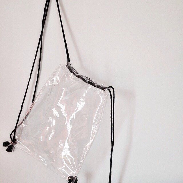 Clear Drawstring Bag Transparent Backpack PVC Vinyl Rucksack Shoulder Bag by pingypearshop on Etsy https://www.etsy.com/listing/209310898/clear-drawstring-bag-transparent