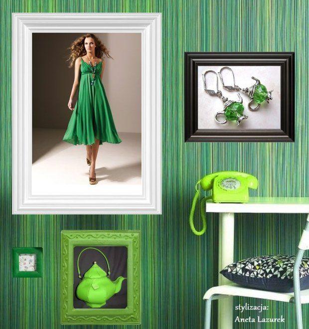 Wasze zielone stylizacje - Lazurenka!  :).  Do #konkursu na #najlepsza #stylizacja zaprasza www.big-active! Sukienka: Wallis,  Kolczyki: Victoriana,  Torebka w kształcie czajnika: she-knitspodcast.blogspot.com
