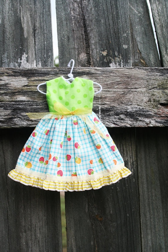 Strawberries Full Skirted Dress with Yellow Frilly by tasha2shoes, $12.00