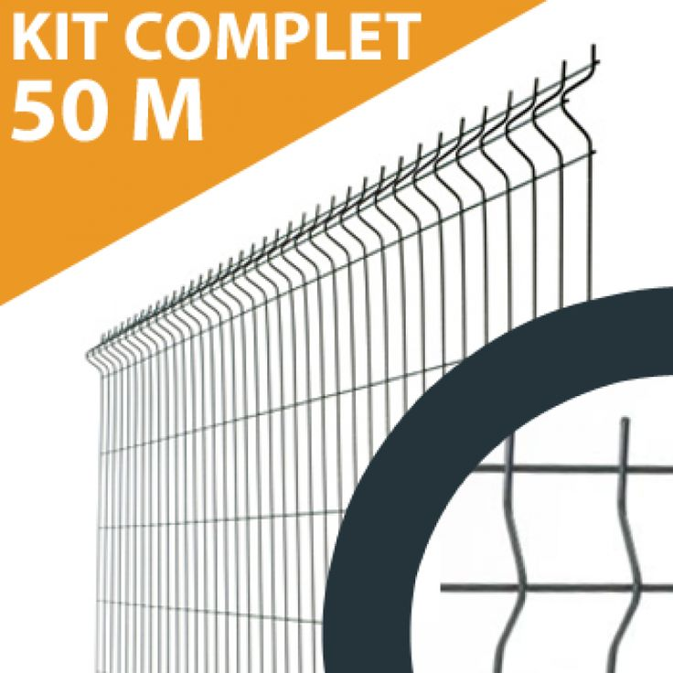 Kit Grillage Rigide Gris Anthracite 50M - Fil 4mm