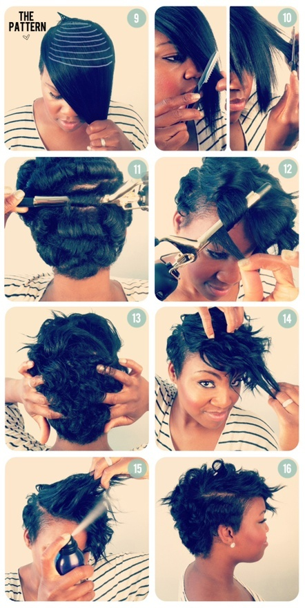A tutorial for adding length (bangs) to super short hair at home! xo black-girl-hair