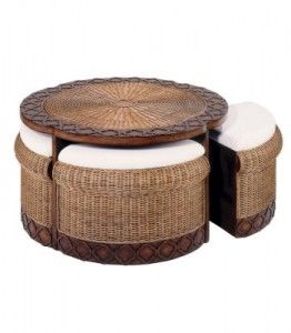 Wicker coffee table with stools