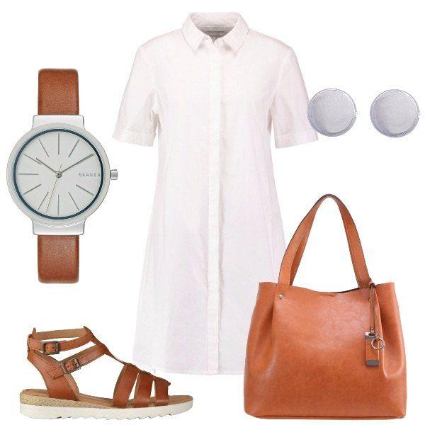 L'outfit+è+composto+da+un+abito+bianco+a+camicia+in+100%+cotone+da+indossare+sul+sandalo+basso+con+cinturini+in+pelle+e+con+la+borsa+a+mano+colo+cognac.+Gli+accessori+completano+il+look:+un+paio+di+orecchini+a+bottoncino+ed+un+orologio+dalle+linee+essenziali.