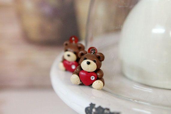 Orecchini di argilla polimerica, gioielli fatti a mano, pronto a nave, orecchini divertenti, orecchini orsacchiotto, orso orecchini, orecchini insoliti