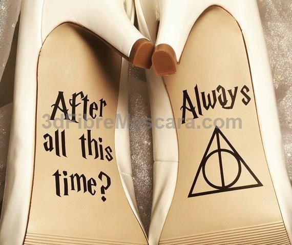 Once you've said yes to the dress, say HELL YES to these shoe decals. | 27 Things You Need To Have A Classy AF Harry Potter Wedding #weddings #wedding #marriage #weddingdress #weddinggown #ballgowns #ladies #woman #women #beautifuldress #newlyweds #proposal #shopping #engagement