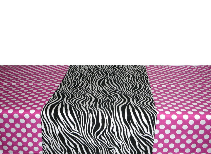 Minnie Mouse Birthday Rectangle Tablecloth X Custom, Zebra Print Runner X  Pink Polka Dots Tablecloth