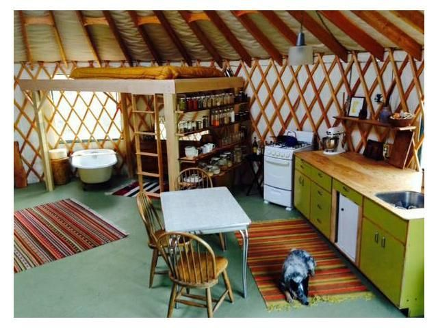 I'm not a fan of Yurts for myself, but I love open shelving in the kitchen.  Large clear glass jars as canisters is perfect for everyday use.