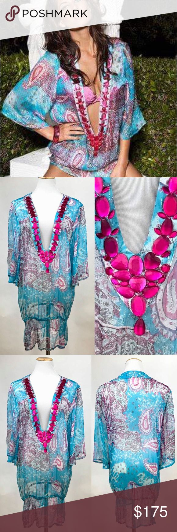 New Beach Bunny Bejeweled Silk Tunic Coverup Dress Beach Bunny 'Viva La Vida' cover up tunic. Teal blue and magenta floral/paisley print. Metallic gold threading. Plunging, bejeweled neckline. 3/4?sleeves. Wear as coverup, tunic or dress. 100% Silk. Hand washable.  Size: Large.  New without tags. Beach Bunny Swim Coverups
