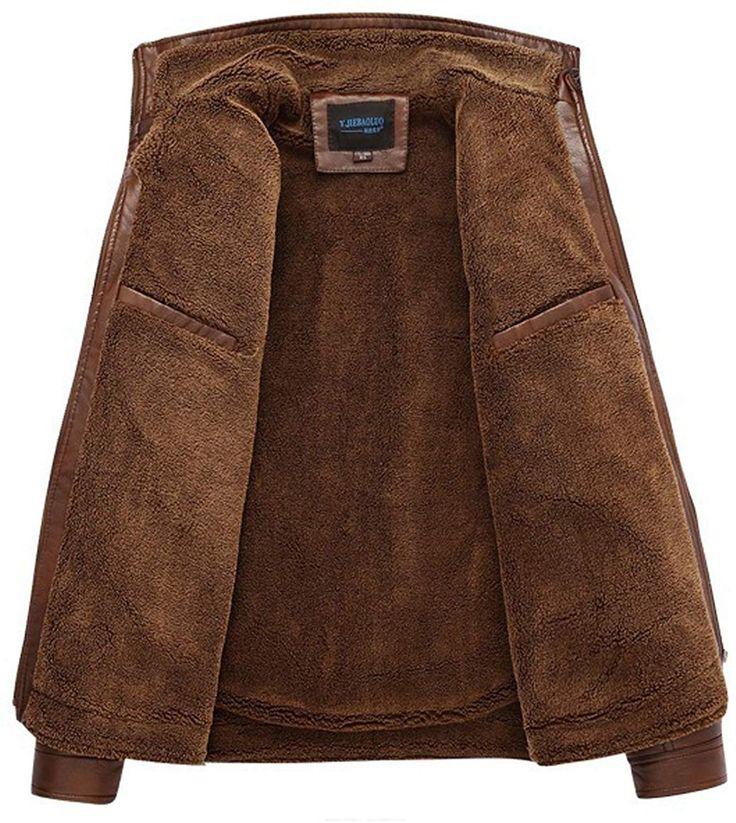 SZAWSL Men's Warm Leather Fur Lining Jacket Coat Outwear