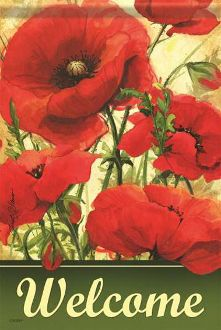 Welcome/Summer Poppies Garden Flag FlagTrends CLASSIC FLAGS by Carson
