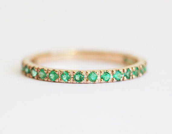 Emerald Wedding Ring Emerald Wedding Band Emerald by capucinne