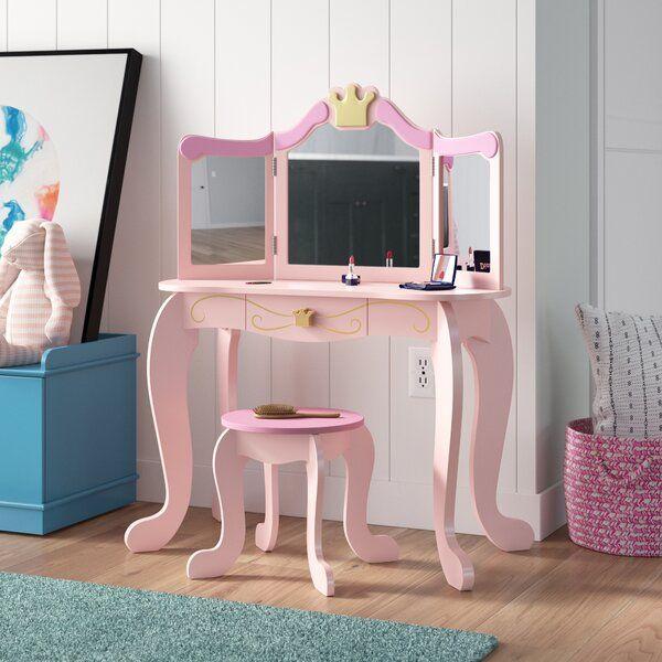 Princess Vanity Set With Mirror Bedroom Vanity Set Kids Vanity Kids Chaise