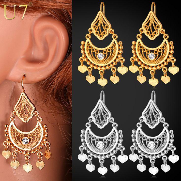 U7 Indien Bijoux Classique Balancent Boucles D'oreilles Partie Cadeau Jaune Plaqué Or Strass Boucles D'oreilles Pour Les Femmes E3030