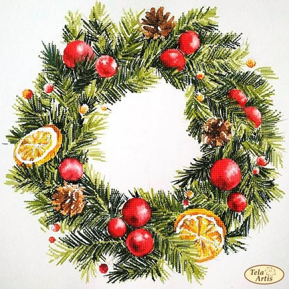 Bead Embroidery Kit Christmas Wreath With Lemons Needlework Etsy In 2020 Embroidery Kits Christmas Wreaths Christmas Paintings