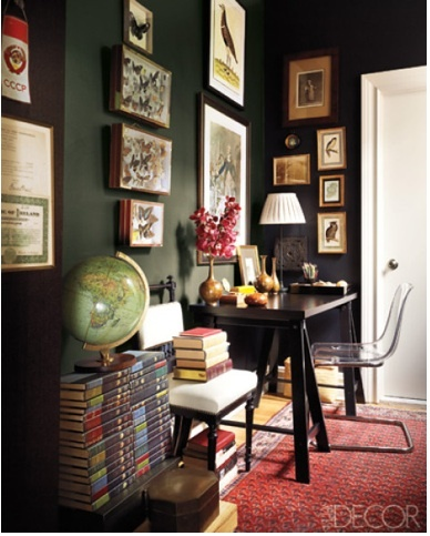 elaine griffin green: Decor, Interior Design, Workspace, Home Office, Wall Color, Dark Walls, Room