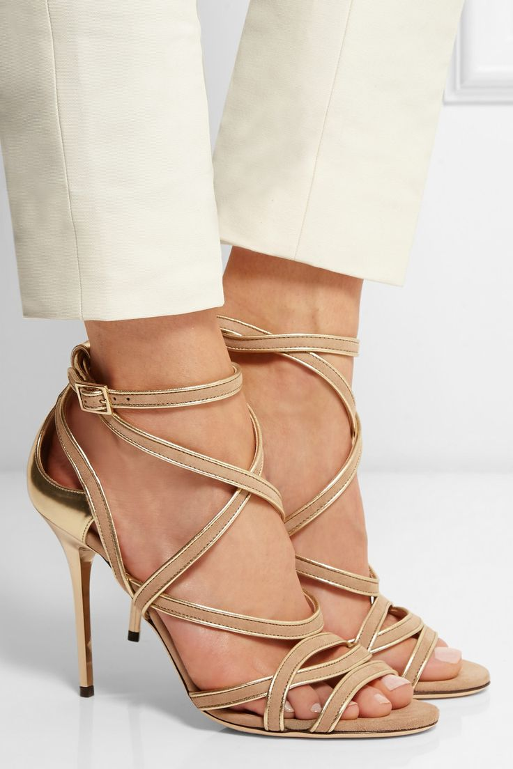 Jimmy Choo|Vargo metallic leather and suede sandals|NET-A-PORTER.COM