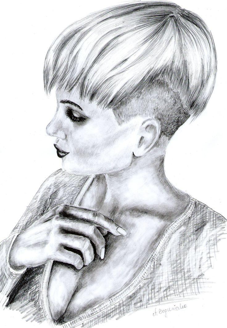 Portret młodej kobiety rysowany ołówkiem ze zdjęcia