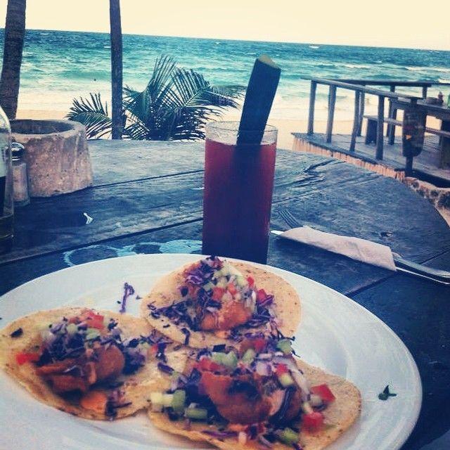 #tulum #fish #tacos #drink #papayaplaya #restaurant #mexicanfood #tulum #paradise #beach #life