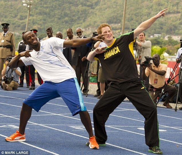 The pair laughed and joked around on the track, with the royal wearing the colours of his host nation