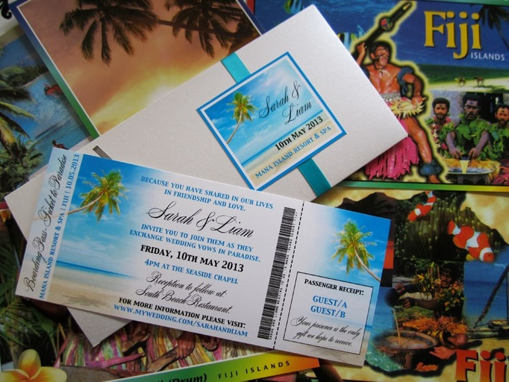 #destinationwedding #weddinginvitation #boardingpassinvitation #fijiwedding  by Island Princess Designs  www.islandprincessdesigns.com.au