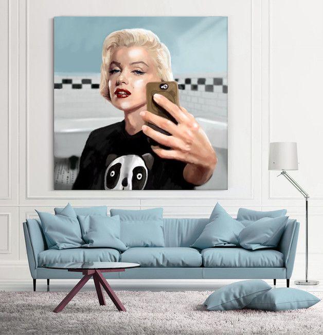"""Obraz Malarstwo Cyfrowe """"Monroe Selfie"""" 50x50 cm - KRZANOO - Dekoracje ścienne"""