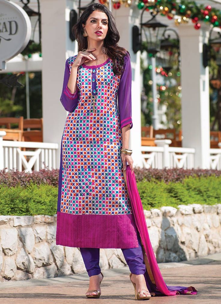 Printed Pure Raw Silk Straight Suit