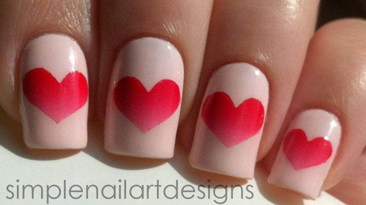 Valentine's Day Heart Nail Art Tutorial Acrylic Paint is used for this design, but you can do it with nail polish as well.