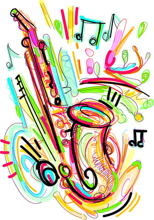 Hand Drawn Colored Musical Instruments Vector 03 МУЗЫКА