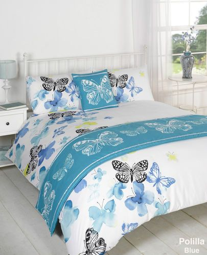 POLILLA BLUE BUTTERFLY DUVET COVER BED IN A BAG BEDDING SET, 4 & 5 PIECE SET | eBay
