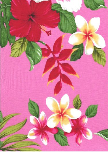 60'olo'olo Hibiscus, heliconia, plumeria, monstera fern and palm fronds on cotton apparel fabric.  BarkclothHawaii.com