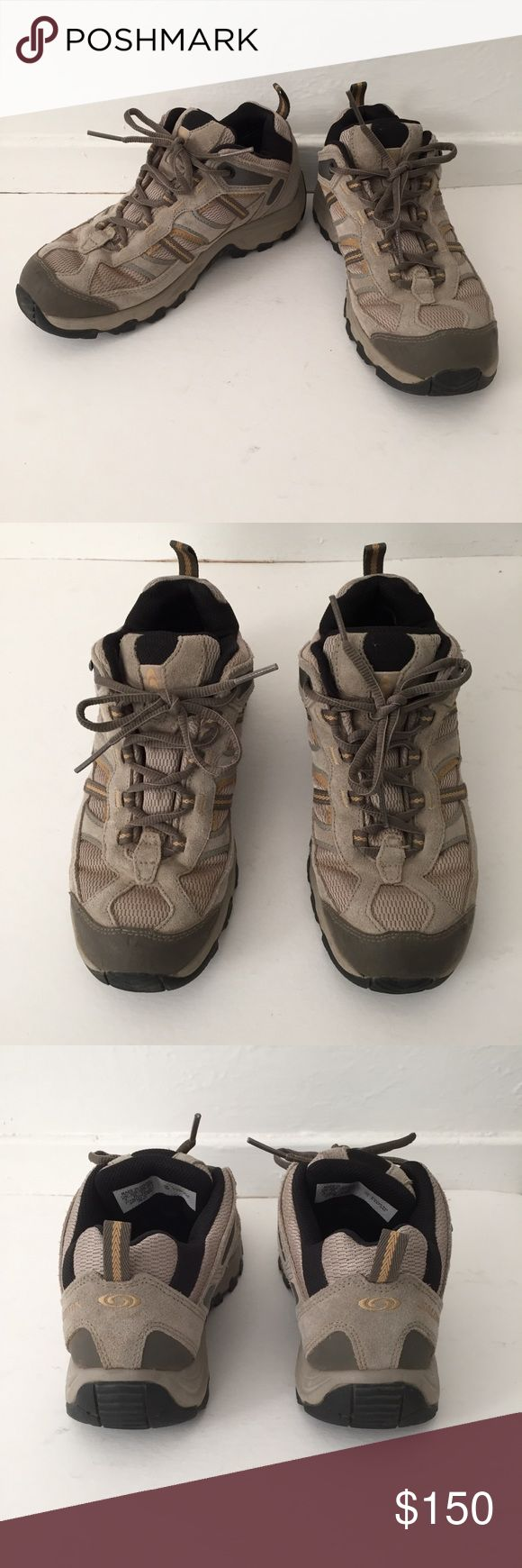 Salomon Hiking Boots Great heavy duty hiking boots. Goretex outer keeps your feet dry and contragrip soles keeps your footing.   worn a few times Salomon Shoes