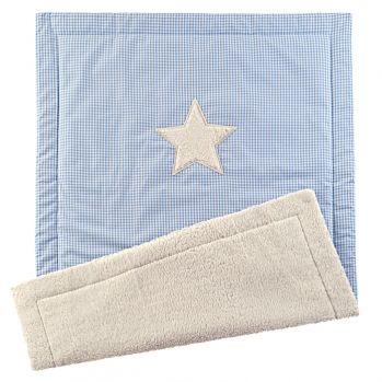 Baby-Spieldecke Vichy/Stern blau 70x100cm