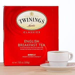 "Twinings English Breakfast Tea (""'This is my favorite tea.' My voice is quiet, breathy...I pop the teabag into the teapot and almost immediately fish it out again with my teaspoon...'I like my tea black and weak,' I mutter as an explanation.'"" p.42)"