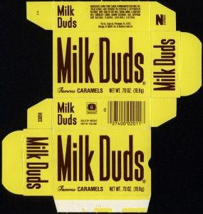 Beatrice - DL Clark - Milk Duds -  0.7 oz candy box - 1981